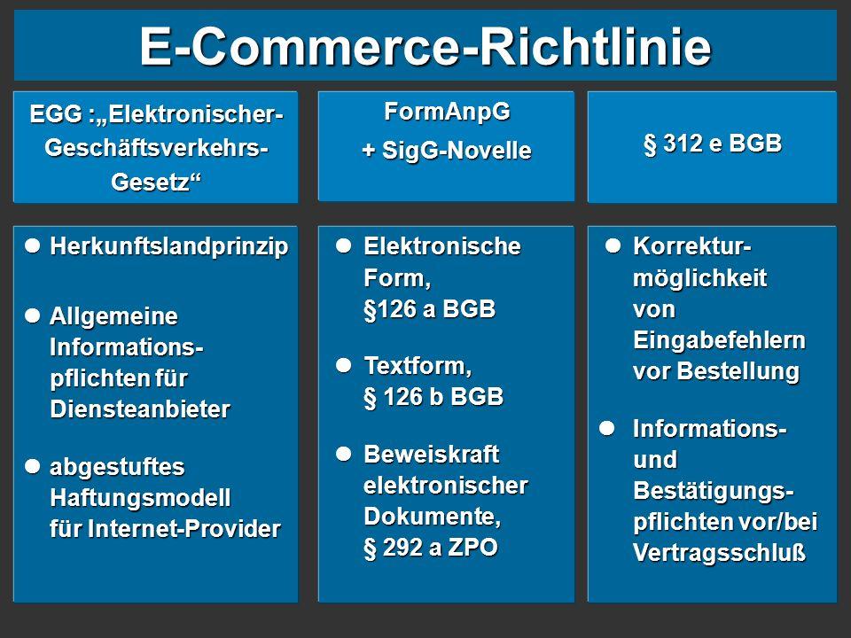 """E-Commerce-Richtlinie EGG :""""Elektronischer- Geschäftsverkehrs- Gesetz"""