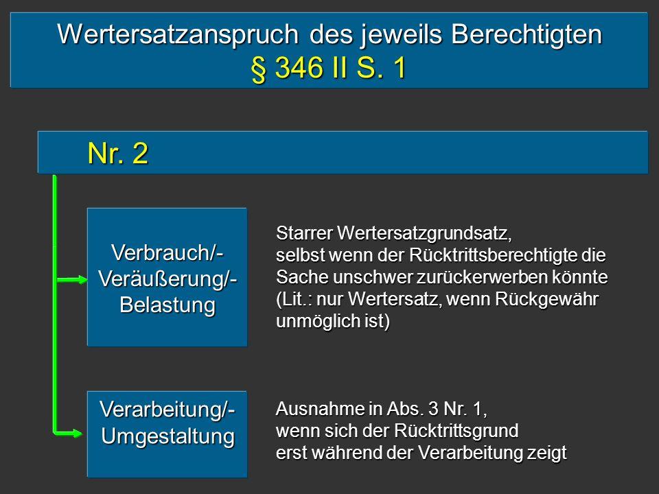 § 346 II S. 1 Nr. 2 Wertersatzanspruch des jeweils Berechtigten