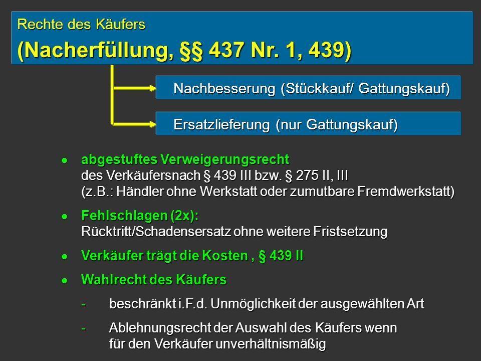 (Nacherfüllung, §§ 437 Nr. 1, 439) Rechte des Käufers