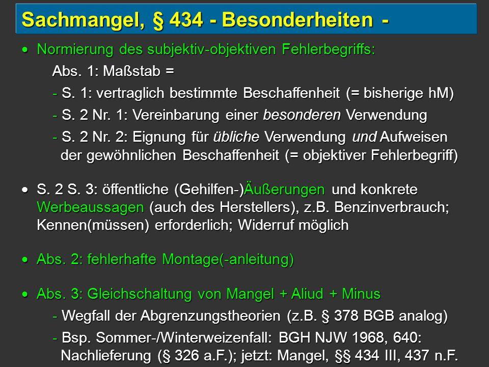 Sachmangel, § 434 - Besonderheiten -
