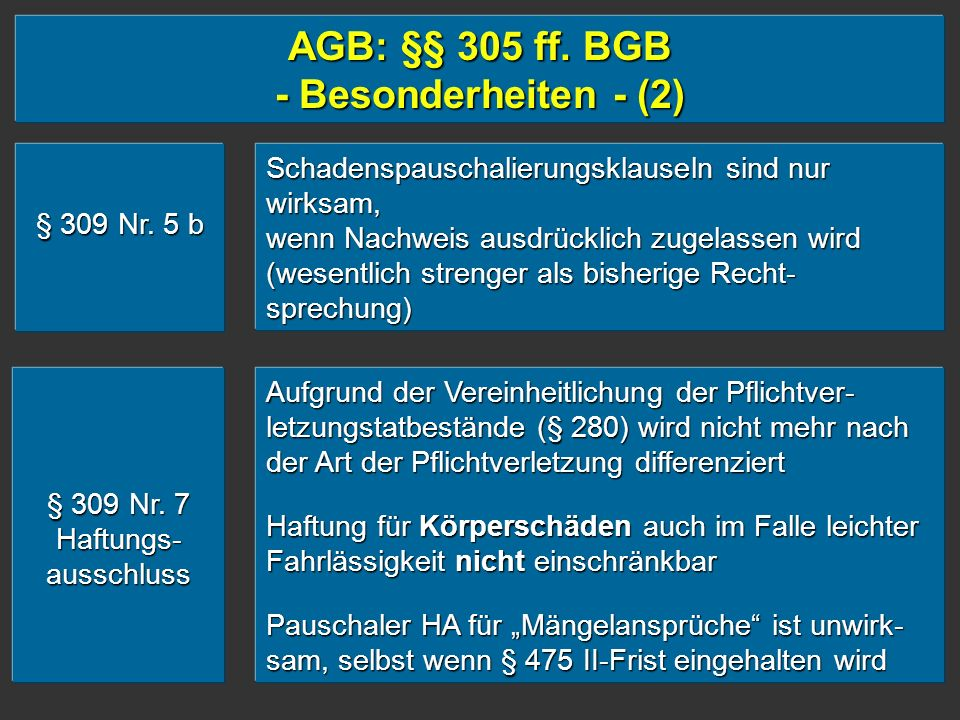 AGB: §§ 305 ff. BGB - Besonderheiten - (2)