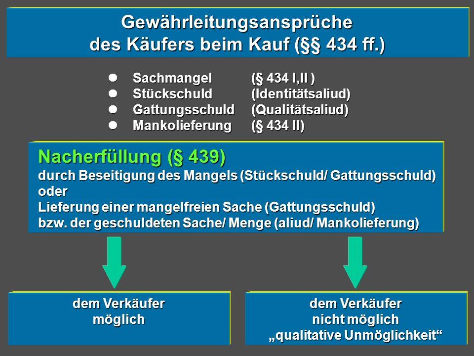 Gewährleitungsansprüche des Käufers beim Kauf (§§ 434 ff.)