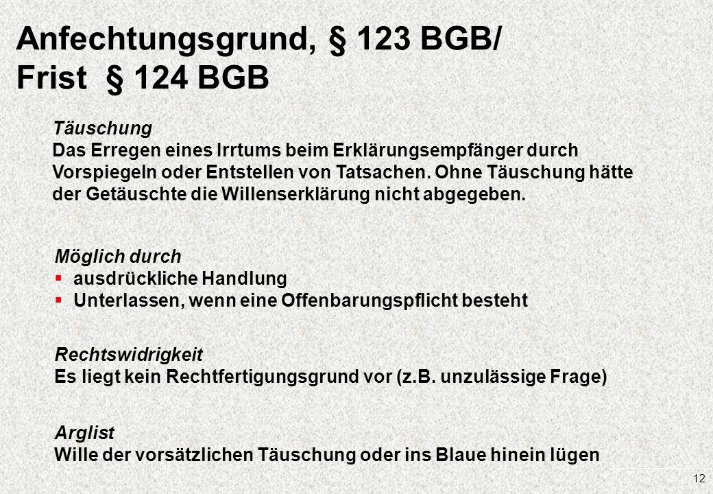 Anfechtungsgrund, § 123 BGB/ Frist § 124 BGB