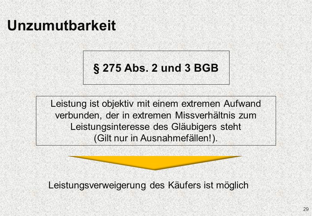Unzumutbarkeit § 275 Abs. 2 und 3 BGB