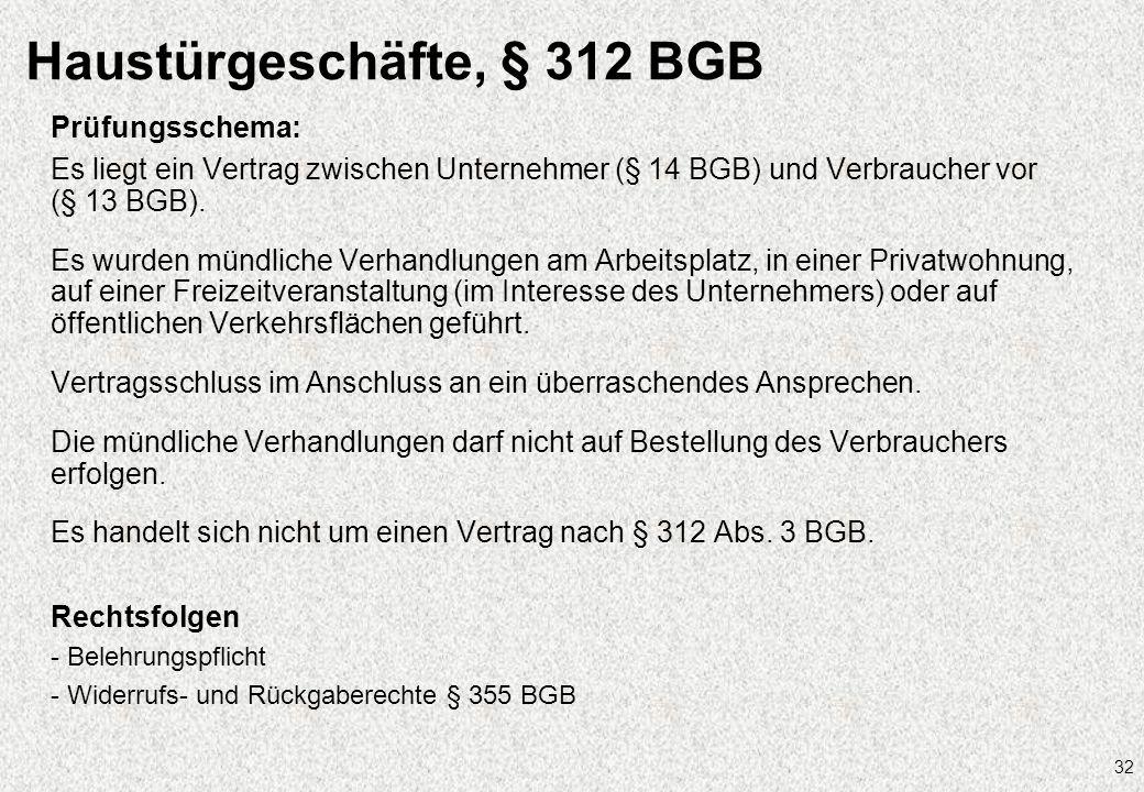 Haustürgeschäfte, § 312 BGB