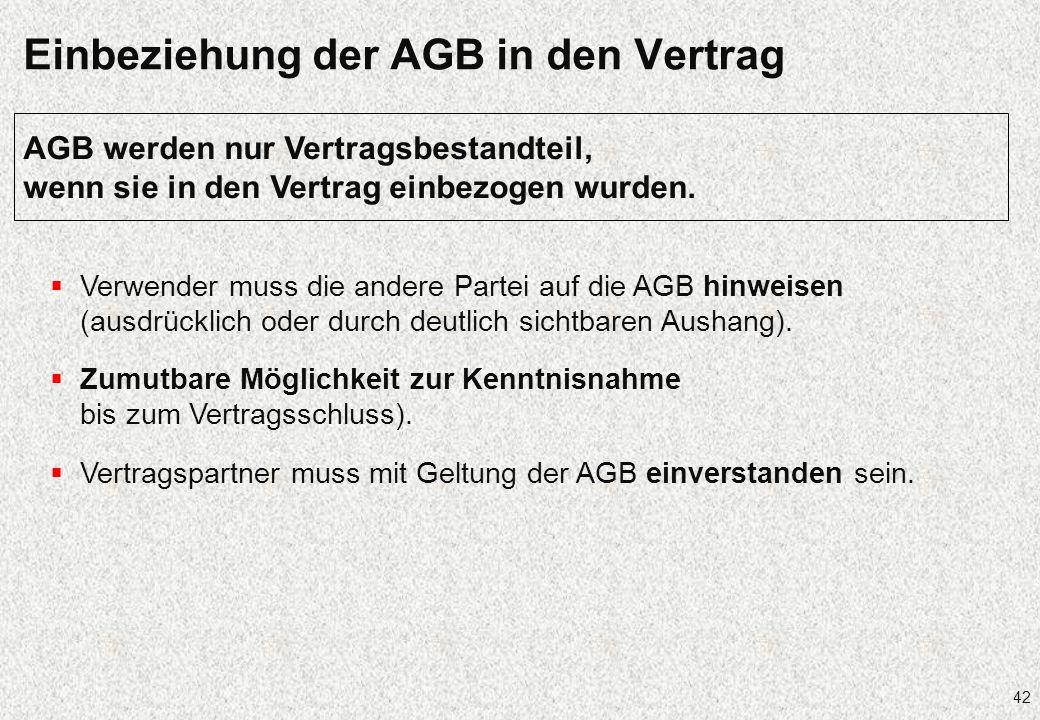 Einbeziehung der AGB in den Vertrag
