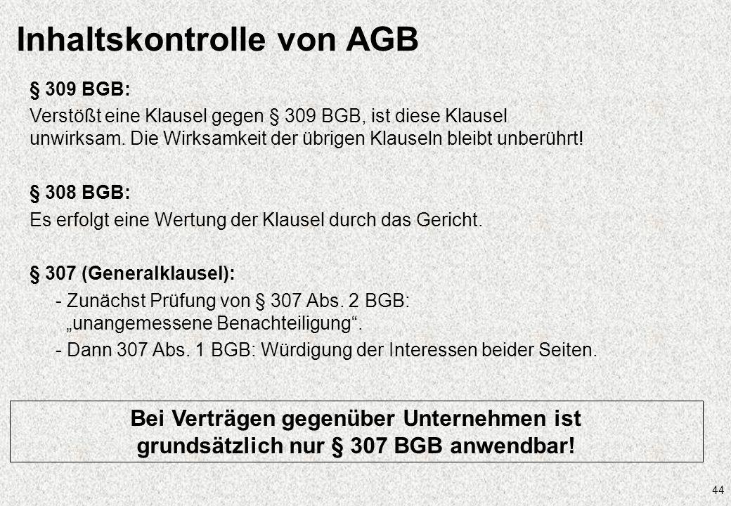 Inhaltskontrolle von AGB