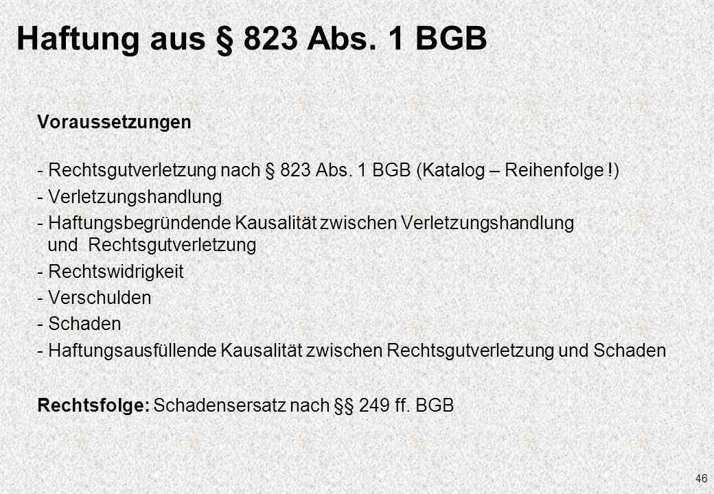 Haftung aus § 823 Abs. 1 BGB Voraussetzungen