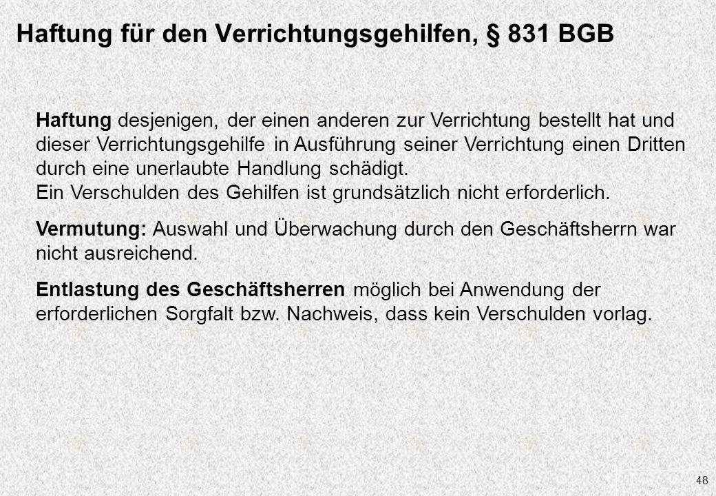 Haftung für den Verrichtungsgehilfen, § 831 BGB
