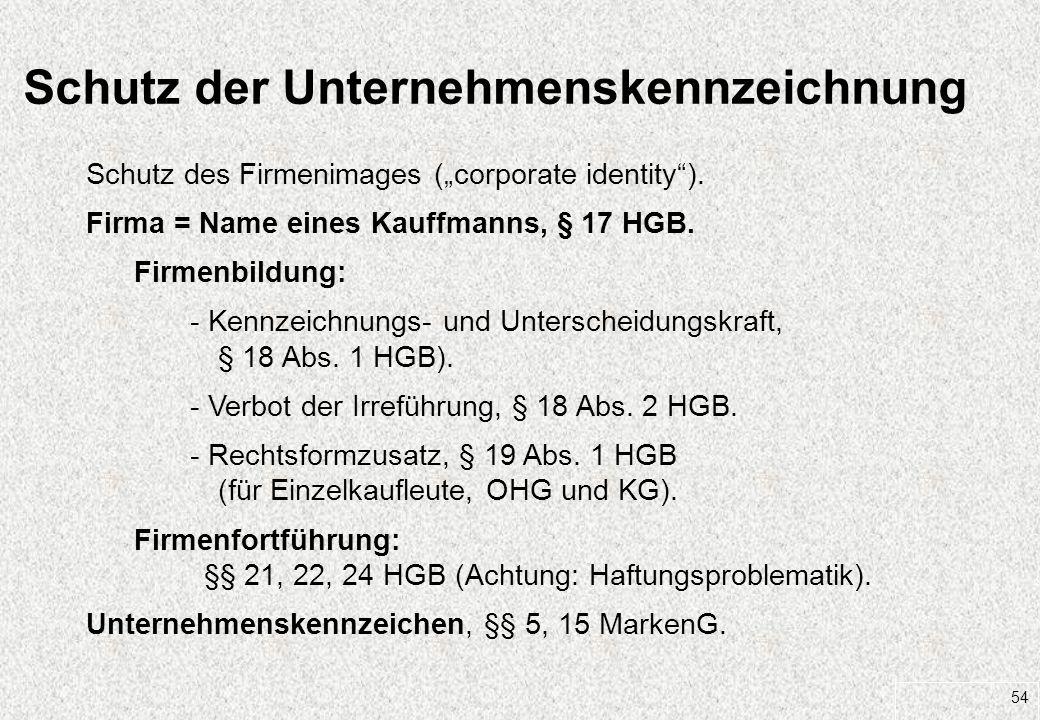 Schutz der Unternehmenskennzeichnung