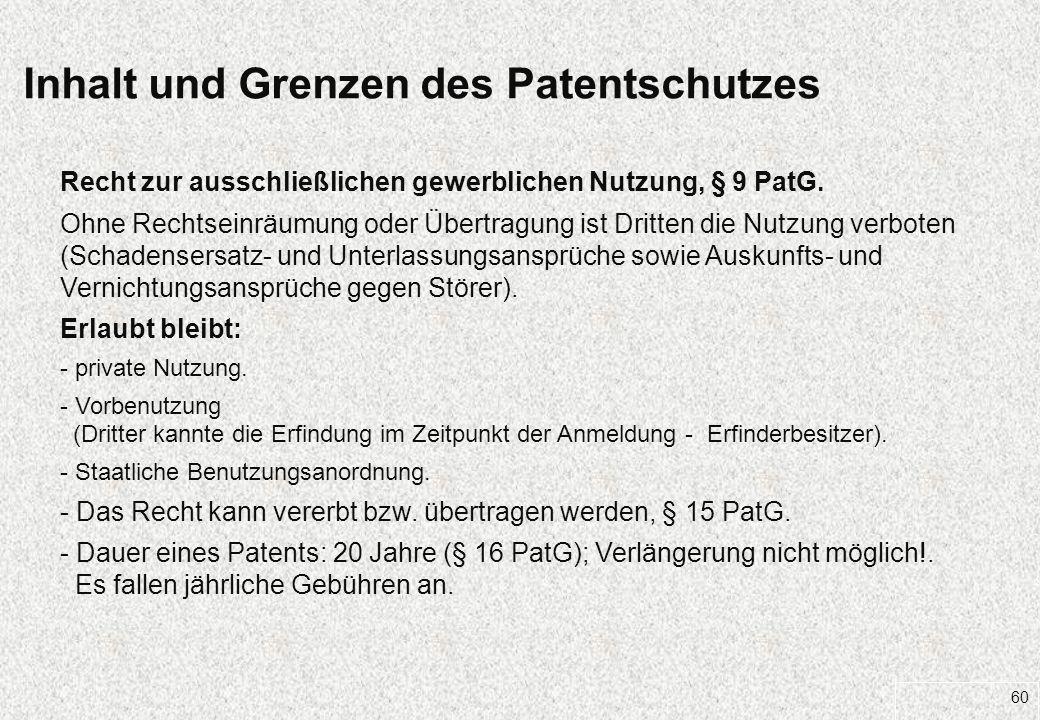 Inhalt und Grenzen des Patentschutzes