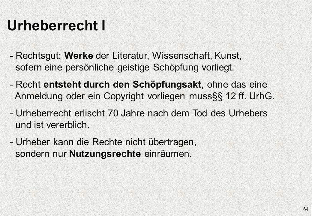 27.03.2017 Urheberrecht I. - Rechtsgut: Werke der Literatur, Wissenschaft, Kunst, sofern eine persönliche geistige Schöpfung vorliegt.