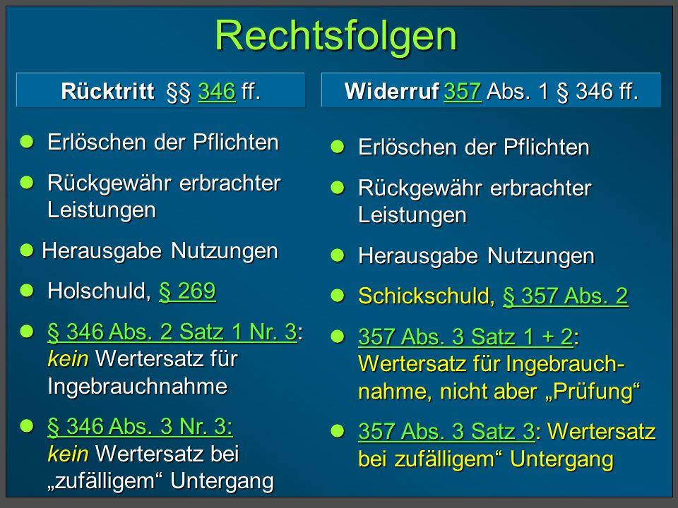 Rechtsfolgen Rücktritt §§ 346 ff. Widerruf 357 Abs. 1 § 346 ff.