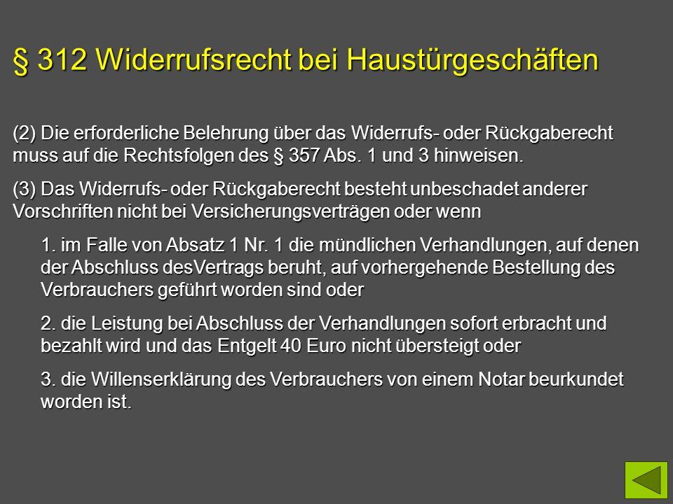 § 312 Widerrufsrecht bei Haustürgeschäften