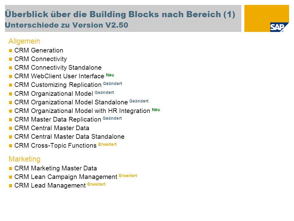 Überblick über die Building Blocks nach Bereich (1) Unterschiede zu Version V2.50