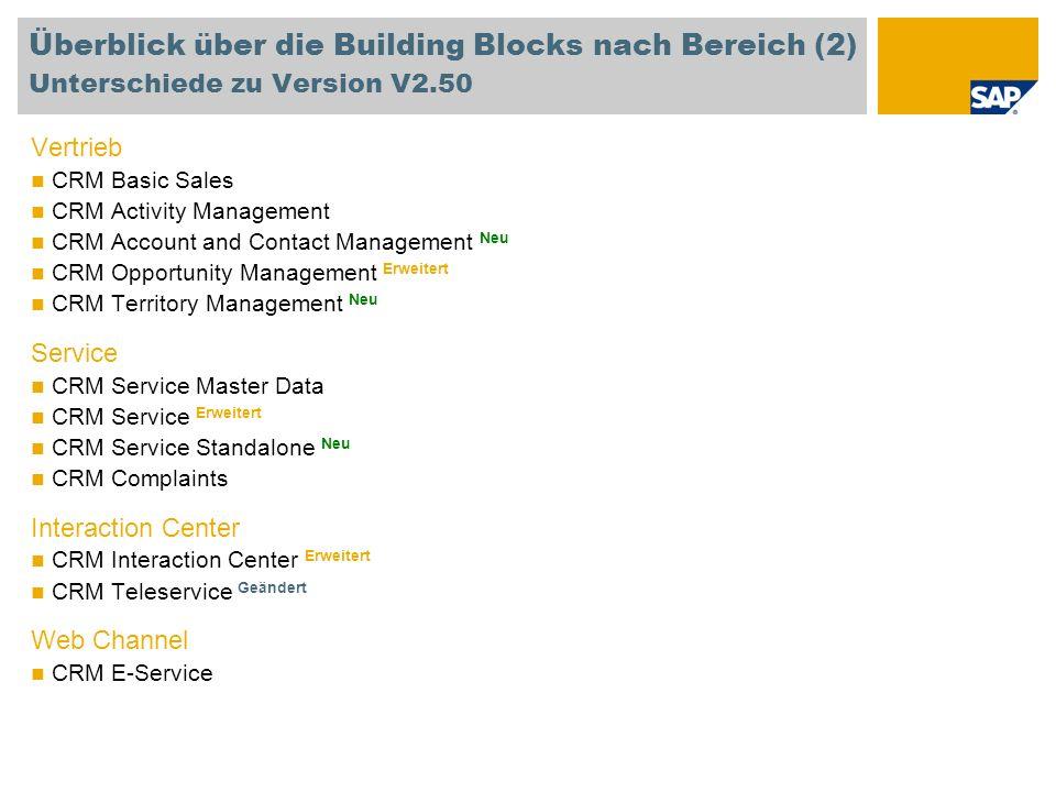 Überblick über die Building Blocks nach Bereich (2) Unterschiede zu Version V2.50