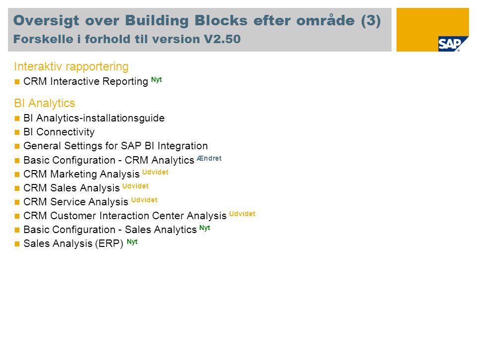 Oversigt over Building Blocks efter område (3) Forskelle i forhold til version V2.50