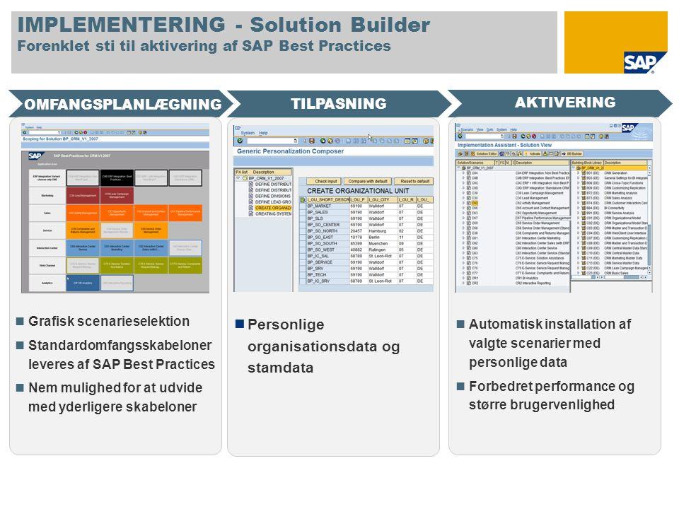 IMPLEMENTERING - Solution Builder Forenklet sti til aktivering af SAP Best Practices