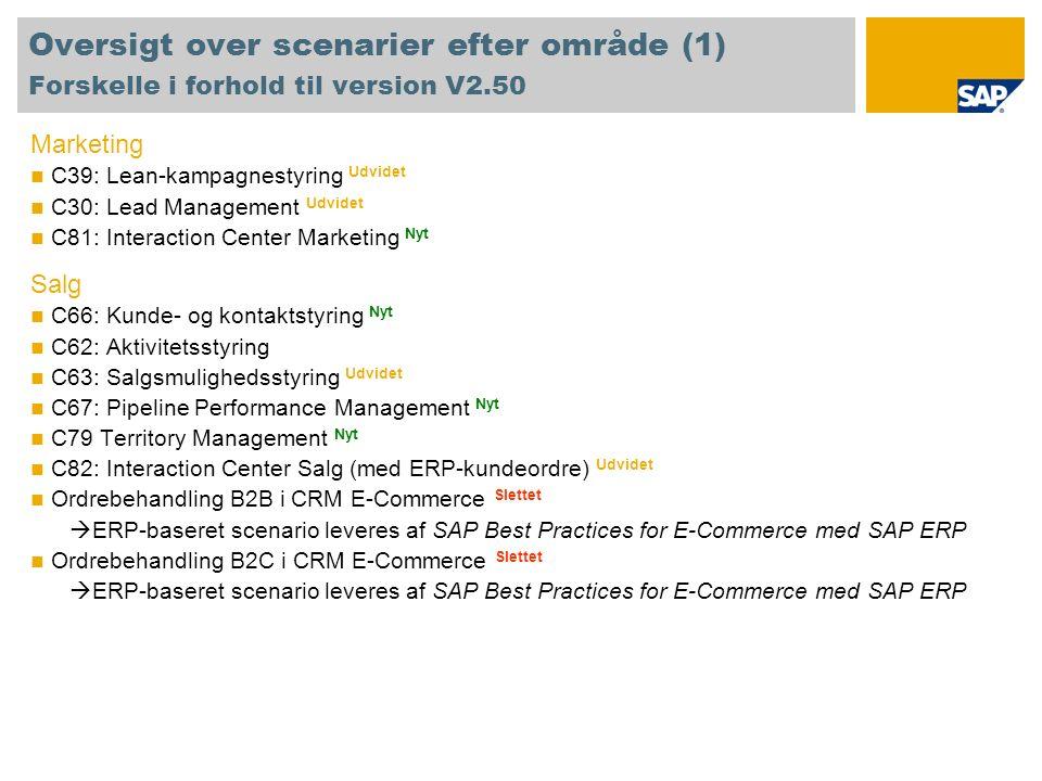 Oversigt over scenarier efter område (1) Forskelle i forhold til version V2.50