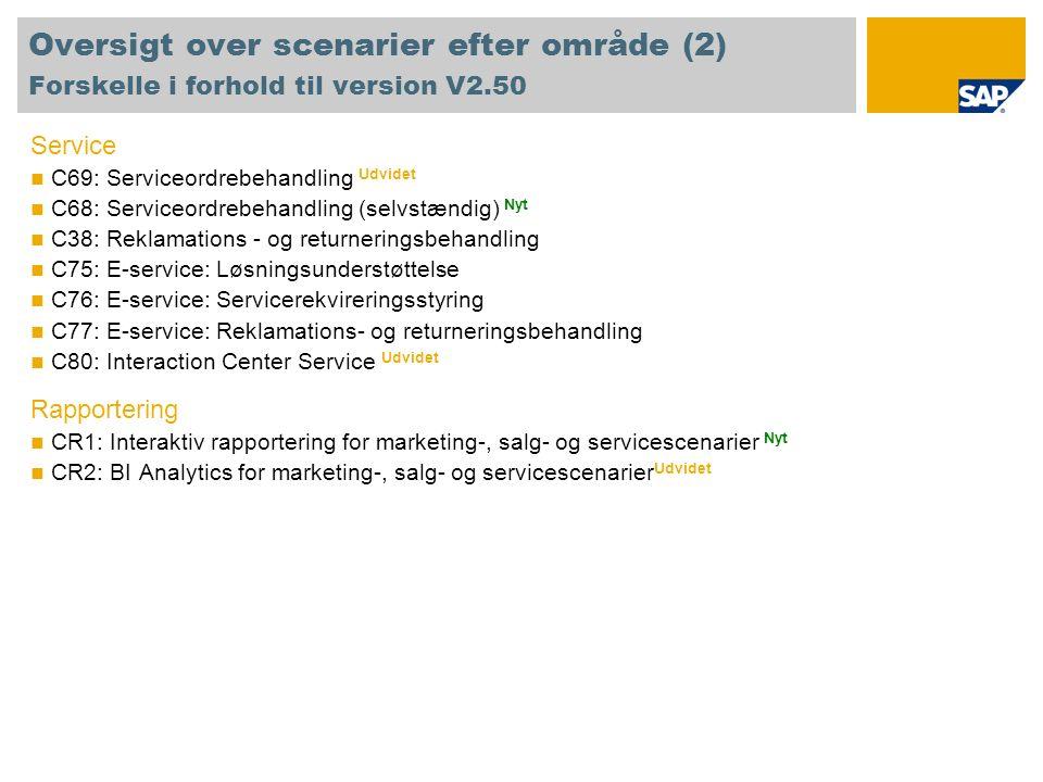 Oversigt over scenarier efter område (2) Forskelle i forhold til version V2.50