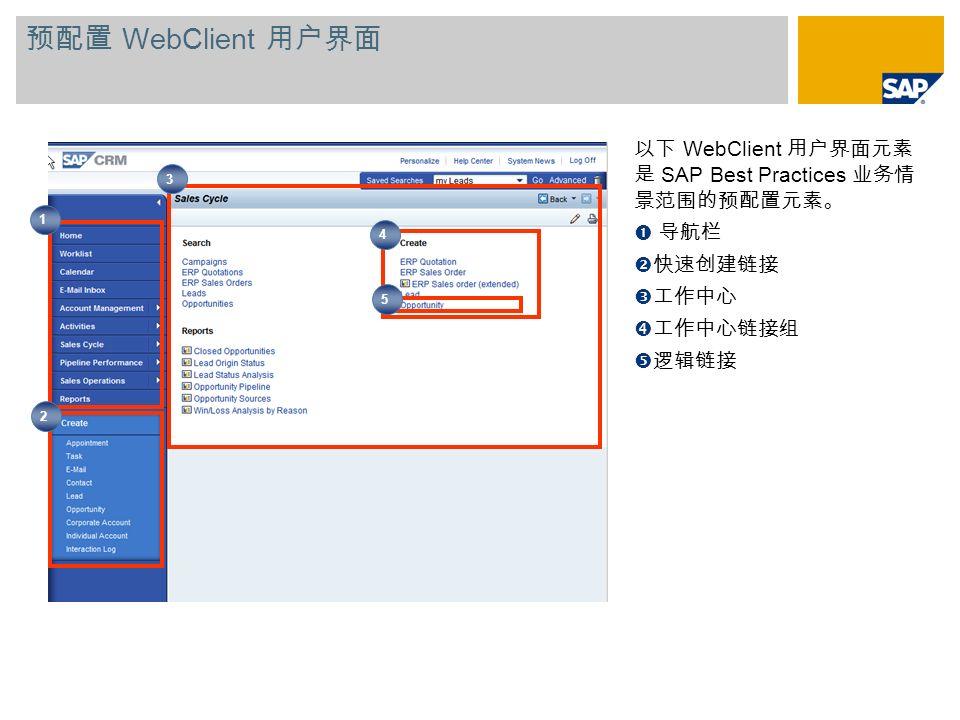 预配置 WebClient 用户界面以下 WebClient 用户界面元素 是 SAP Best Practices 业务情 景范围的预配置元素。 导航栏. 快速创建链接. 工作中心. 工作中心链接组.