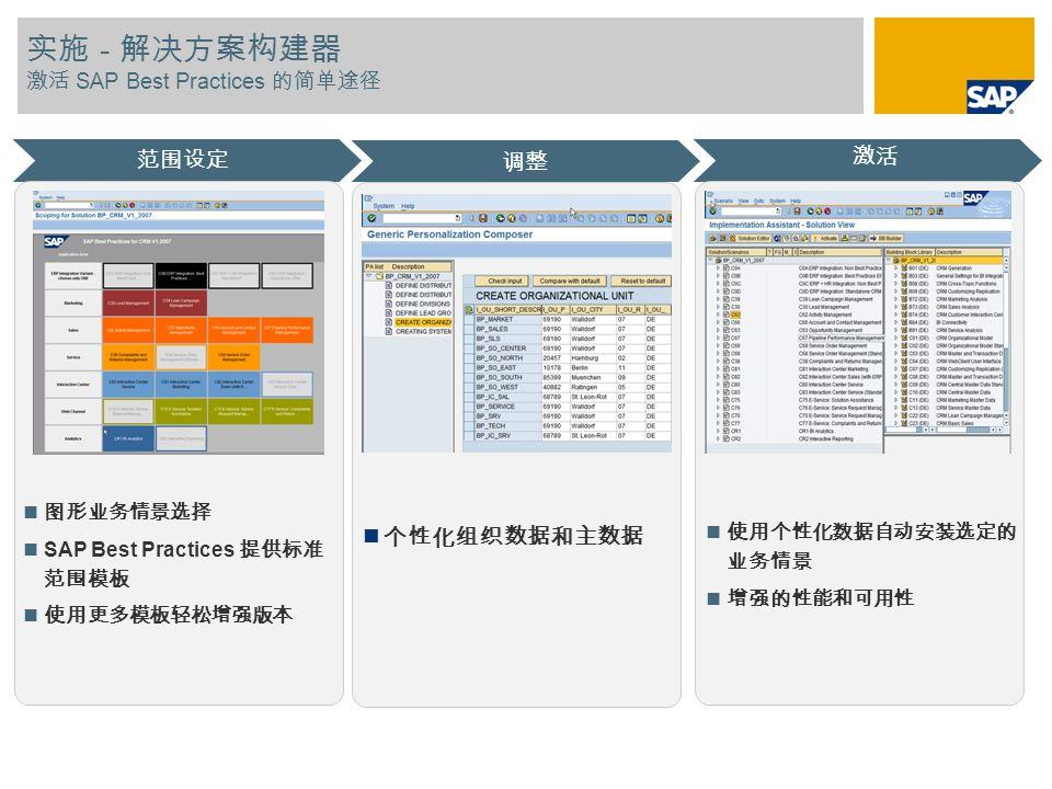 实施 - 解决方案构建器 激活 SAP Best Practices 的简单途径