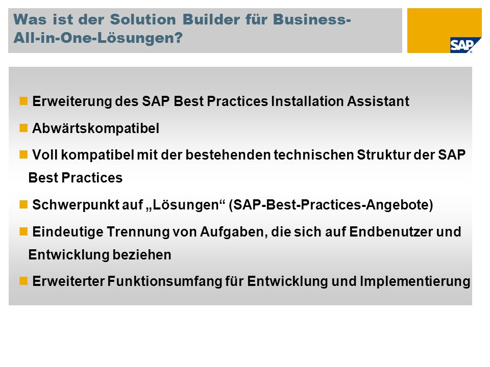 Was ist der Solution Builder für Business- All-in-One-Lösungen