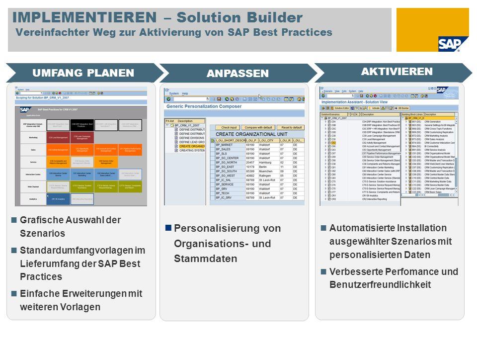 IMPLEMENTIEREN – Solution Builder Vereinfachter Weg zur Aktivierung von SAP Best Practices