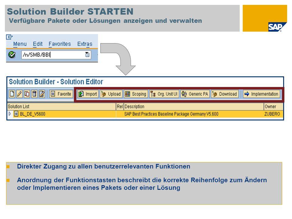 Solution Builder STARTEN Verfügbare Pakete oder Lösungen anzeigen und verwalten