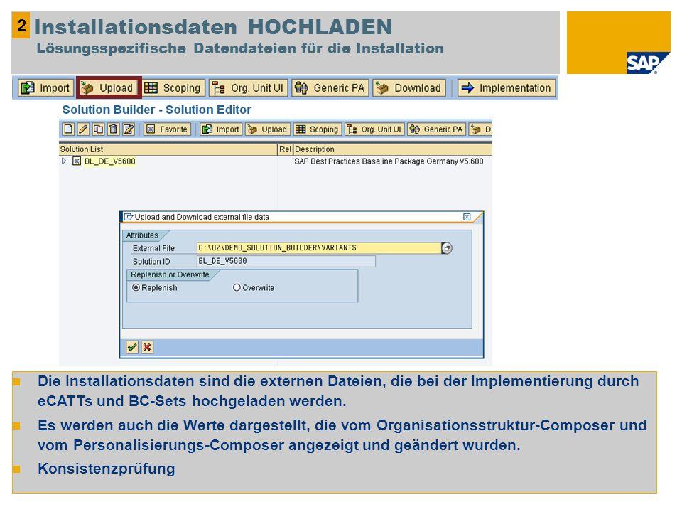2 Installationsdaten HOCHLADEN Lösungsspezifische Datendateien für die Installation.