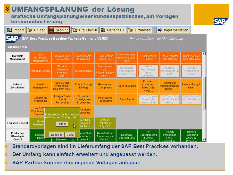 3 UMFANGSPLANUNG der Lösung Grafische Umfangsplanung einer kundenspezifischen, auf Vorlagen basierenden Lösung.