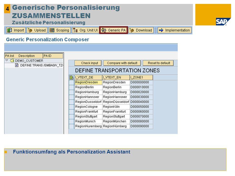 4 Generische Personalisierung ZUSAMMENSTELLEN Zusätzliche Personalisierung.