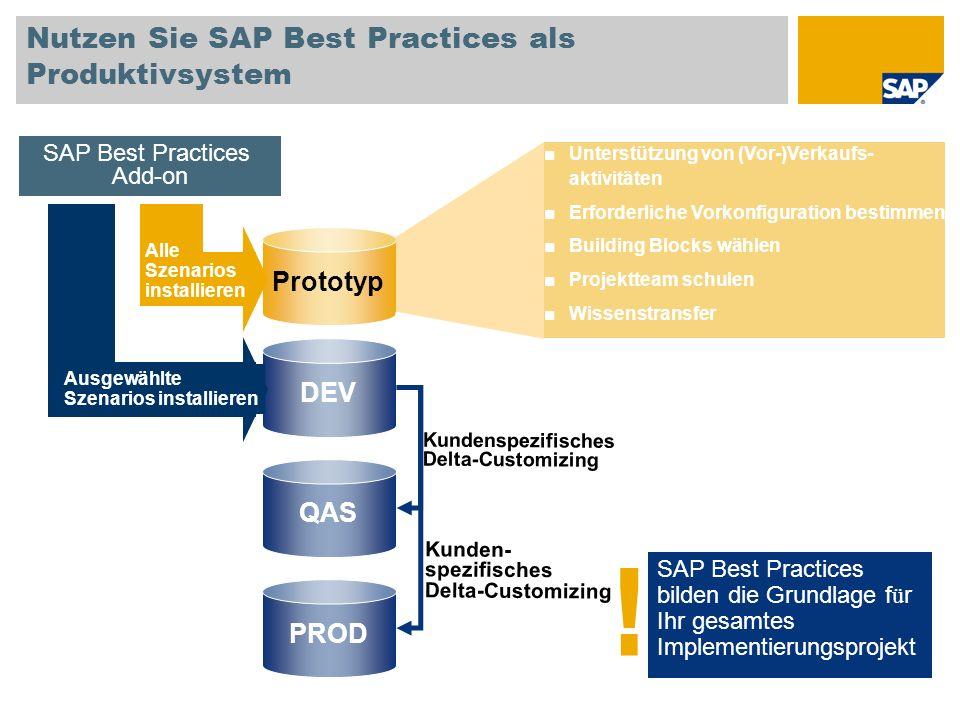 Nutzen Sie SAP Best Practices als Produktivsystem