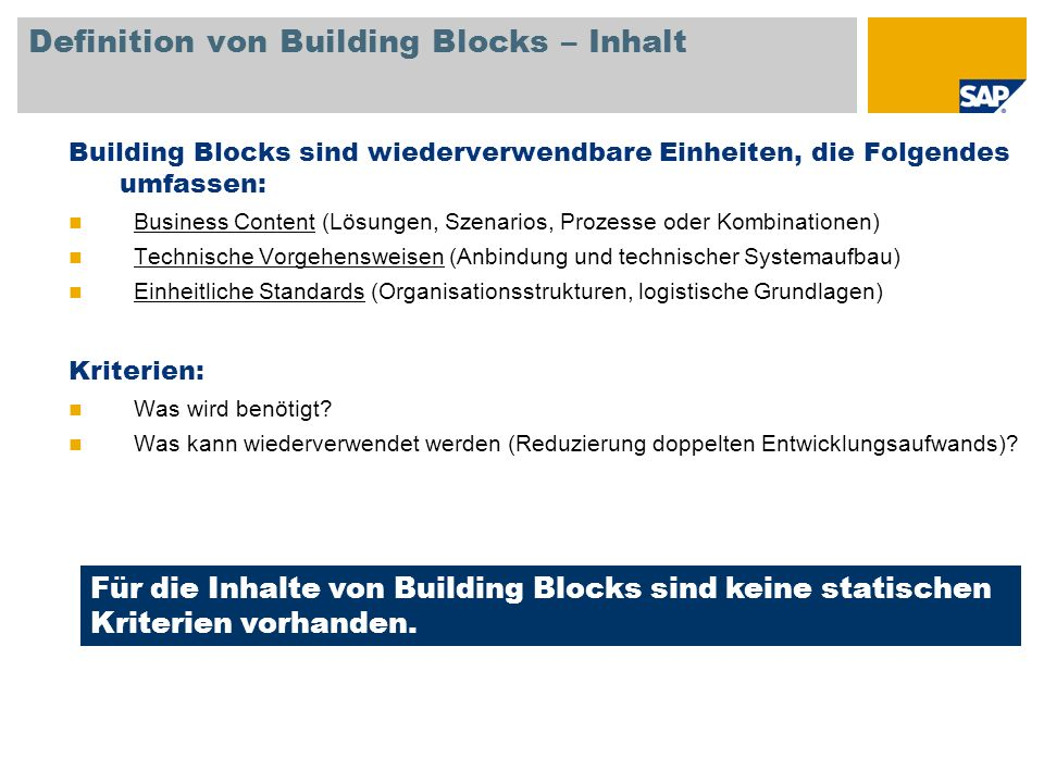 Definition von Building Blocks – Inhalt