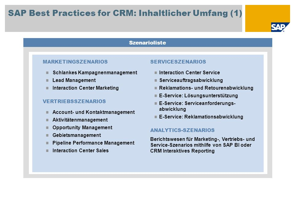 SAP Best Practices for CRM: Inhaltlicher Umfang (1)