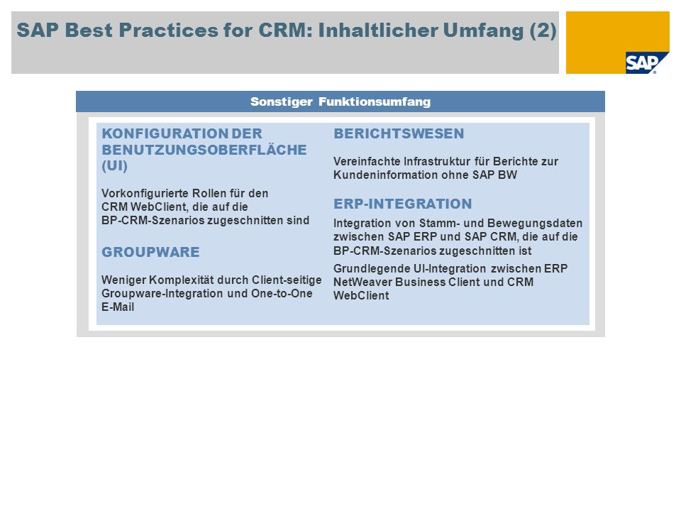 SAP Best Practices for CRM: Inhaltlicher Umfang (2)