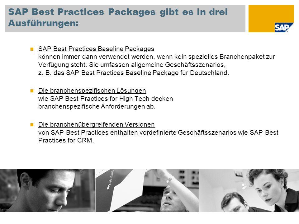 SAP Best Practices Packages gibt es in drei Ausführungen: