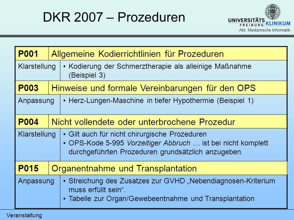 DKR 2007 – Prozeduren P001 Allgemeine Kodierrichtlinien für Prozeduren