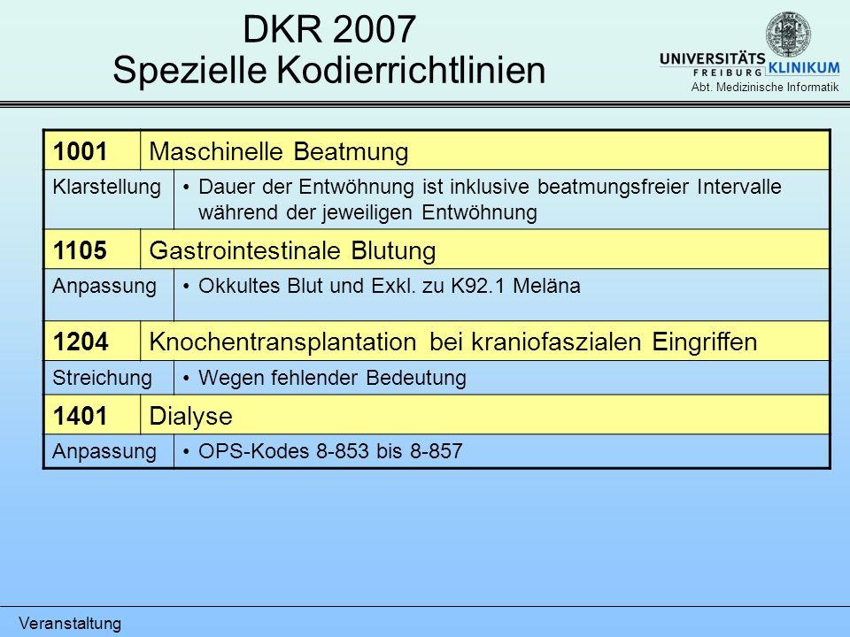 DKR 2007 Spezielle Kodierrichtlinien