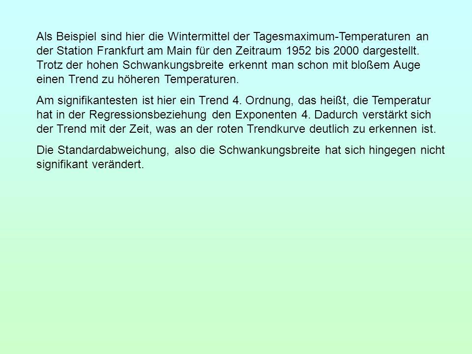 Als Beispiel sind hier die Wintermittel der Tagesmaximum-Temperaturen an der Station Frankfurt am Main für den Zeitraum 1952 bis 2000 dargestellt. Trotz der hohen Schwankungsbreite erkennt man schon mit bloßem Auge einen Trend zu höheren Temperaturen.