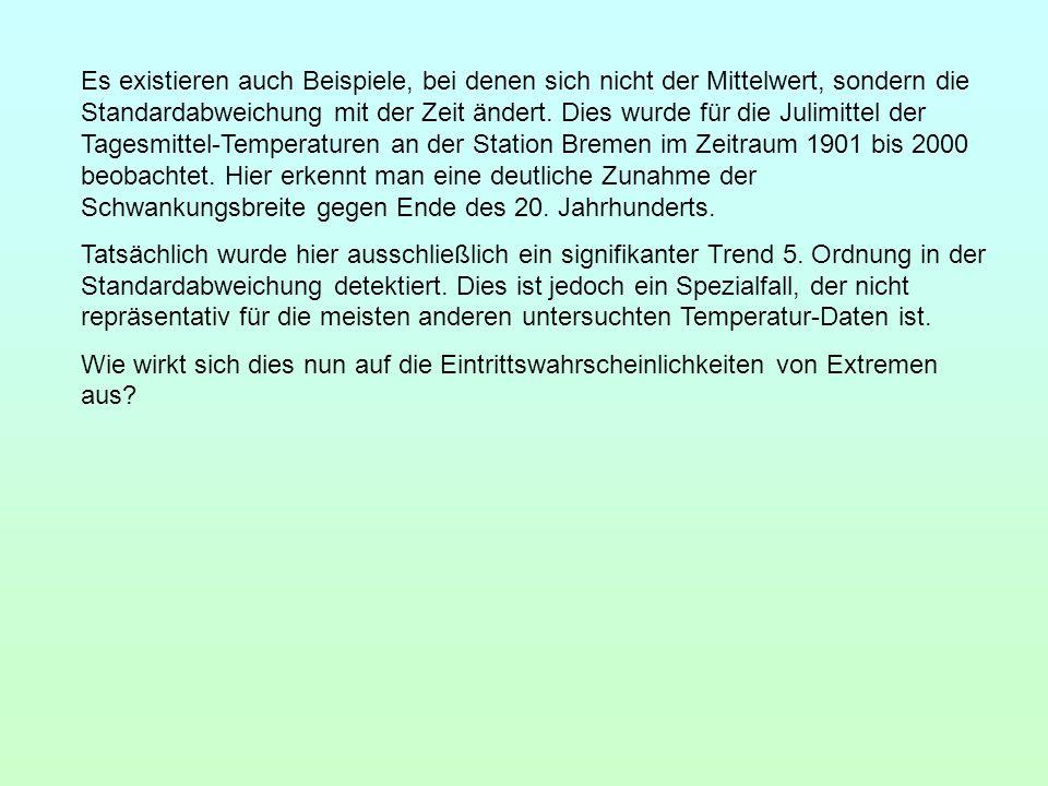 Es existieren auch Beispiele, bei denen sich nicht der Mittelwert, sondern die Standardabweichung mit der Zeit ändert. Dies wurde für die Julimittel der Tagesmittel-Temperaturen an der Station Bremen im Zeitraum 1901 bis 2000 beobachtet. Hier erkennt man eine deutliche Zunahme der Schwankungsbreite gegen Ende des 20. Jahrhunderts.