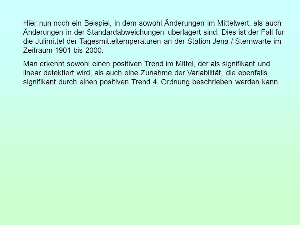 Hier nun noch ein Beispiel, in dem sowohl Änderungen im Mittelwert, als auch Änderungen in der Standardabweichungen überlagert sind. Dies ist der Fall für die Julimittel der Tagesmitteltemperaturen an der Station Jena / Sternwarte im Zeitraum 1901 bis 2000.