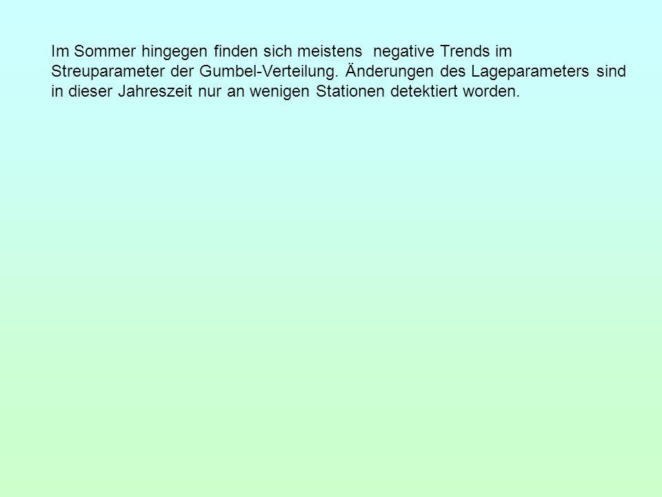 Im Sommer hingegen finden sich meistens negative Trends im Streuparameter der Gumbel-Verteilung.