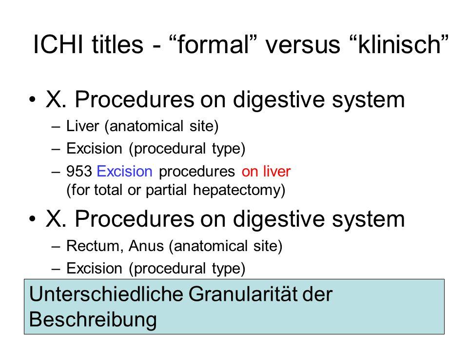 ICHI titles - formal versus klinisch