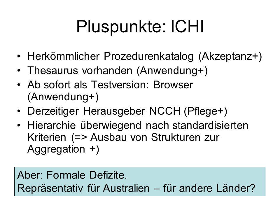 Pluspunkte: ICHI Herkömmlicher Prozedurenkatalog (Akzeptanz+)
