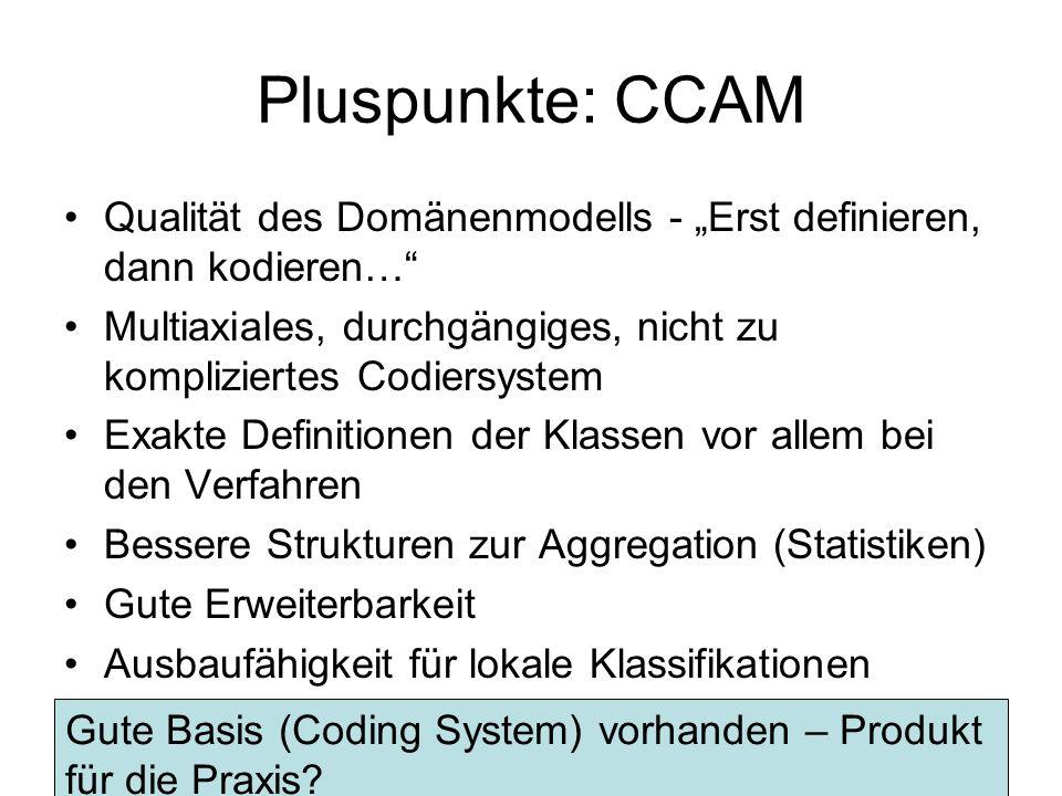 """Pluspunkte: CCAM Qualität des Domänenmodells - """"Erst definieren, dann kodieren… Multiaxiales, durchgängiges, nicht zu kompliziertes Codiersystem."""