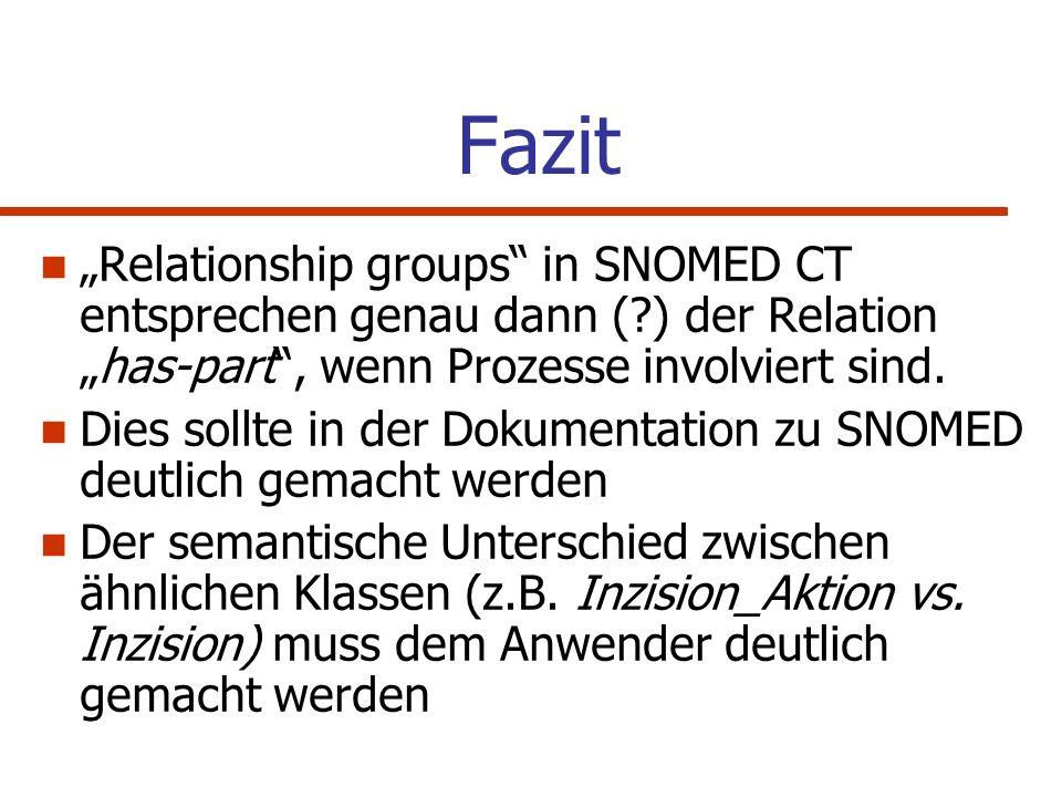 """Fazit """"Relationship groups in SNOMED CT entsprechen genau dann ( ) der Relation """"has-part , wenn Prozesse involviert sind."""