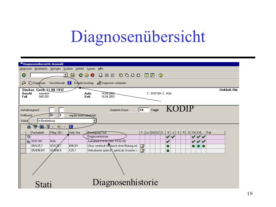 Diagnosenübersicht KODIP Diagnosenhistorie Stati