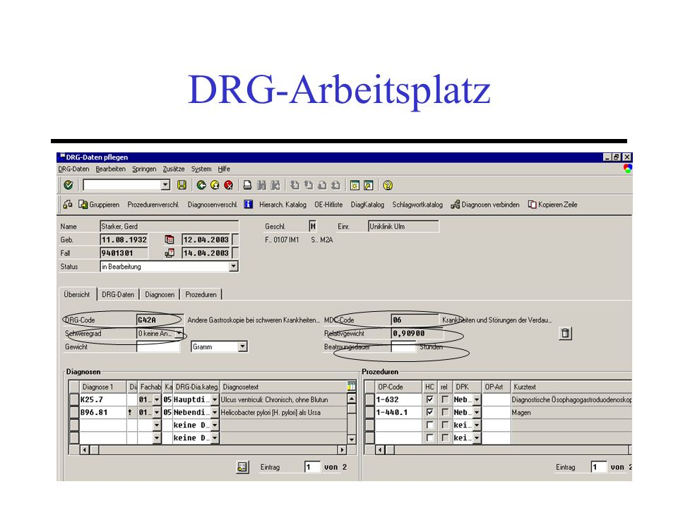 DRG-Arbeitsplatz