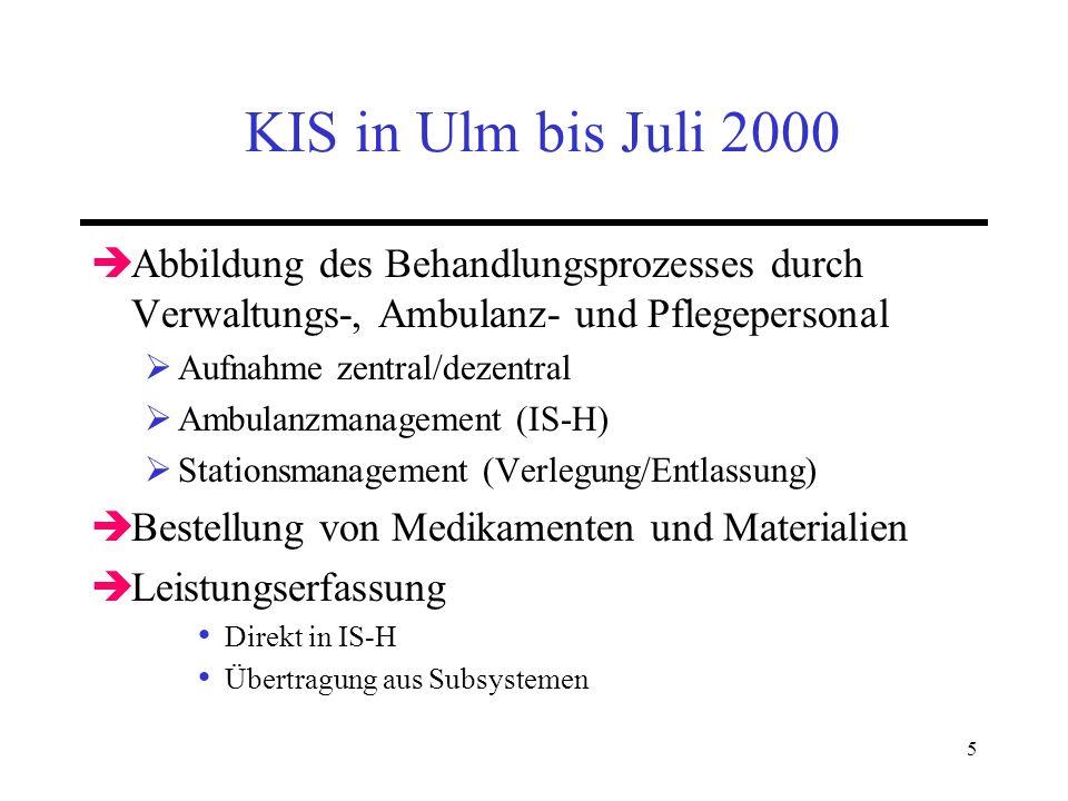 KIS in Ulm bis Juli 2000 Abbildung des Behandlungsprozesses durch Verwaltungs-, Ambulanz- und Pflegepersonal.